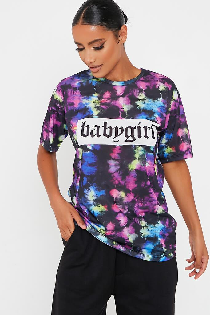 Black Tie Dye Babygirl Slogan Oversized T Shirt view main view