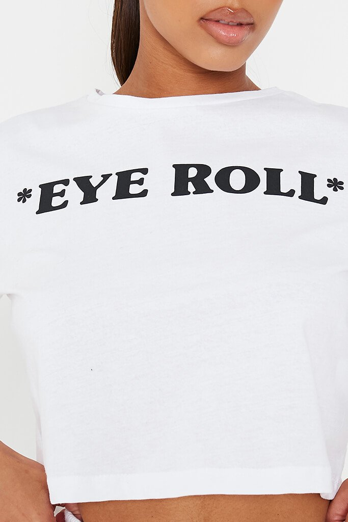 White Eye Roll Crop T-Shirt view 5