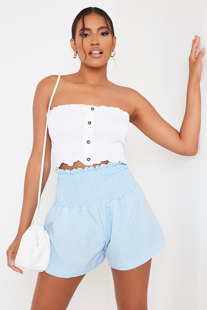 Baby Blue Shirred High Waist Shorts view main view