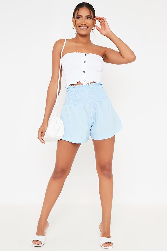 Baby Blue Shirred High Waist Shorts view 2