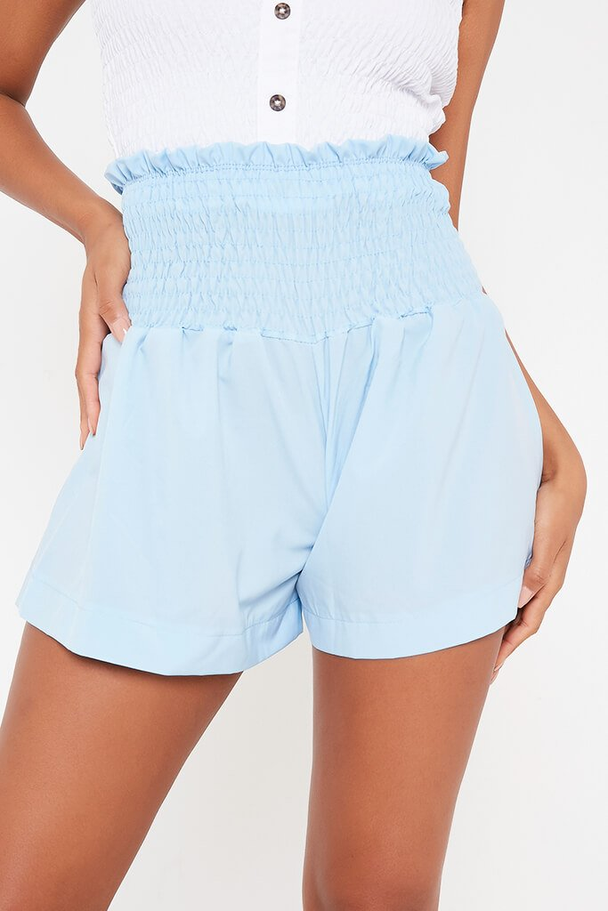 Baby Blue Shirred High Waist Shorts view 4