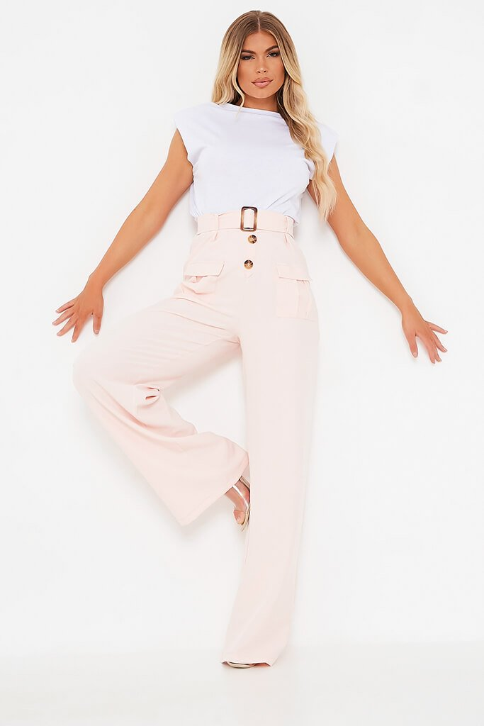 Blush Pink Utility Belted Wide Leg Trouser