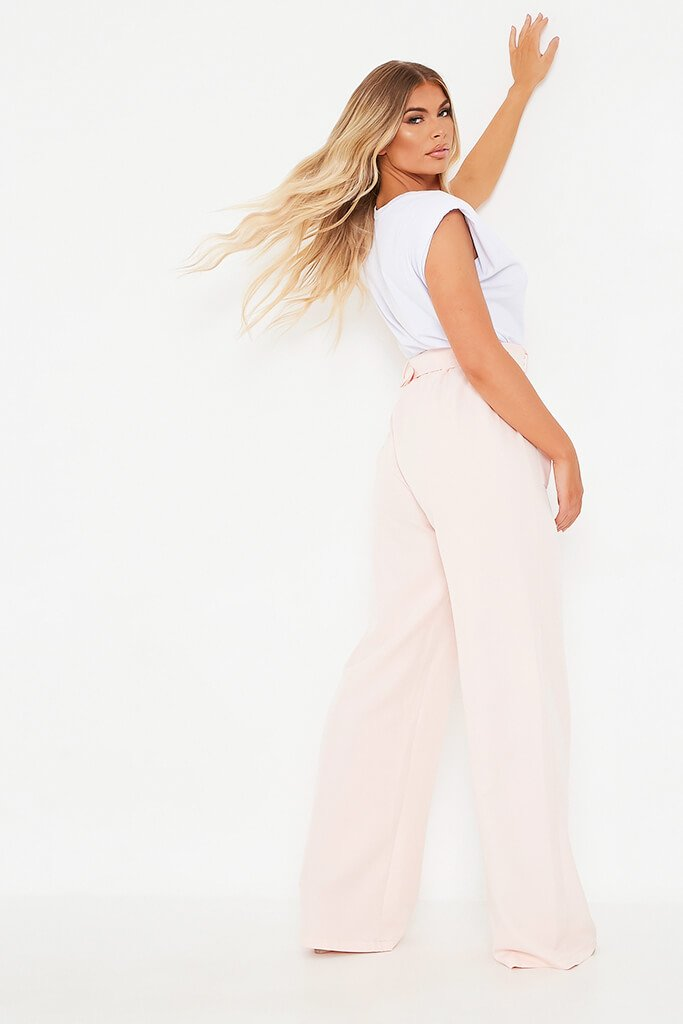 Blush Pink Utility Belted Wide Leg Trouser view 2