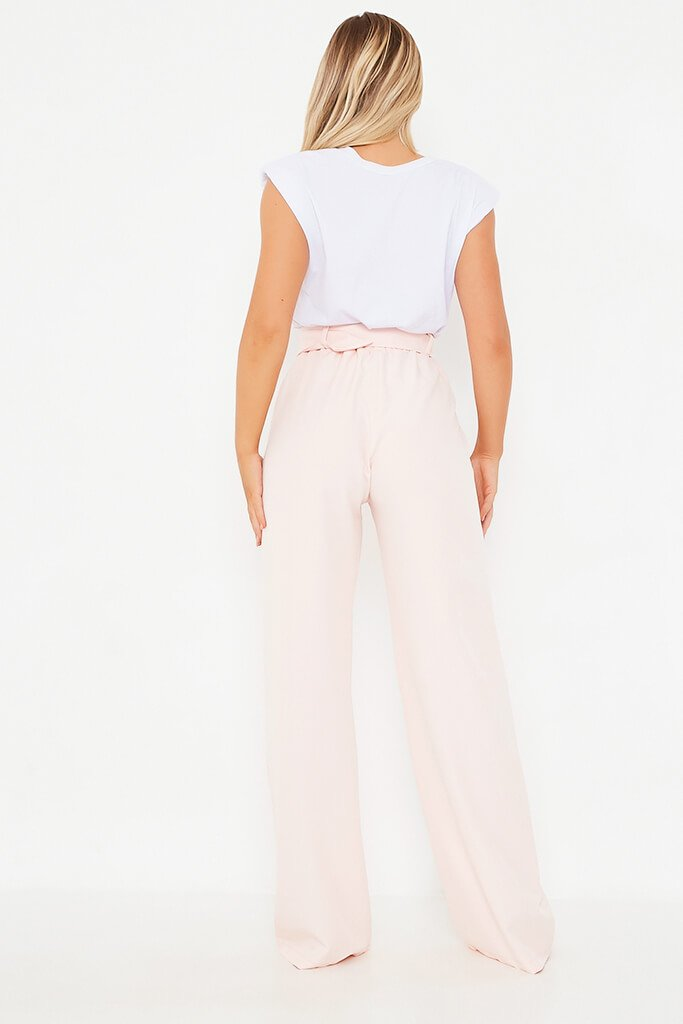 Blush Pink Utility Belted Wide Leg Trouser view 3