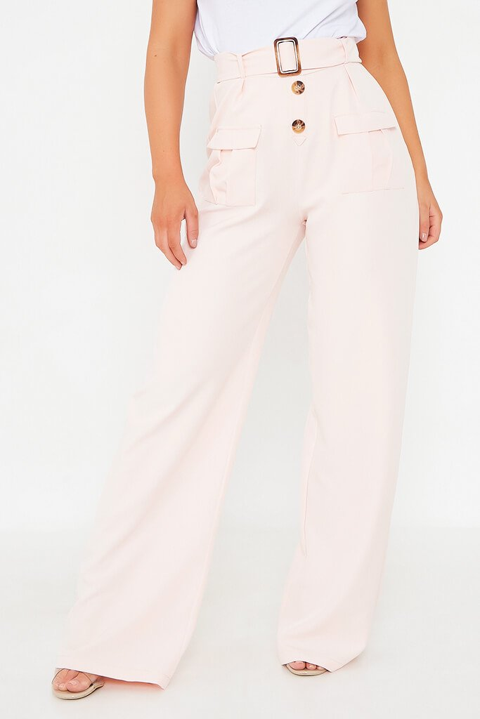 Blush Pink Utility Belted Wide Leg Trouser view 4