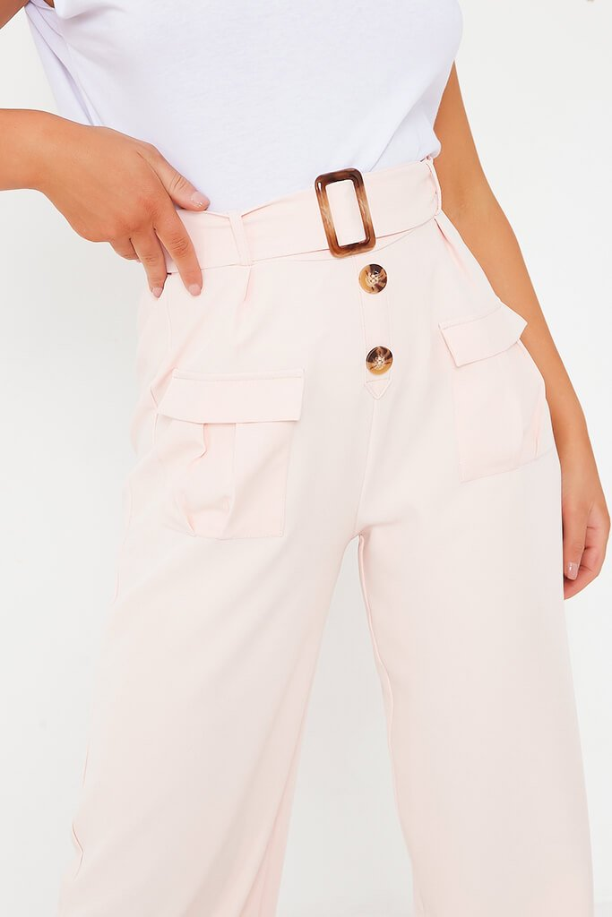 Blush Pink Utility Belted Wide Leg Trouser view 5