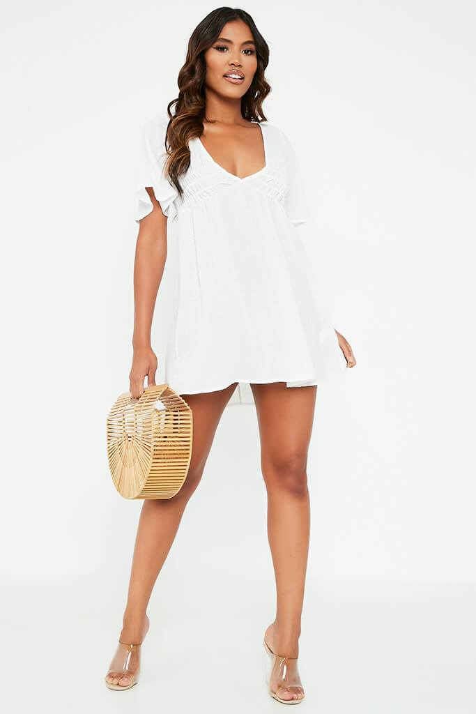 White Sheer Woven Plunge Frill Sleeve Smock Dress view 2