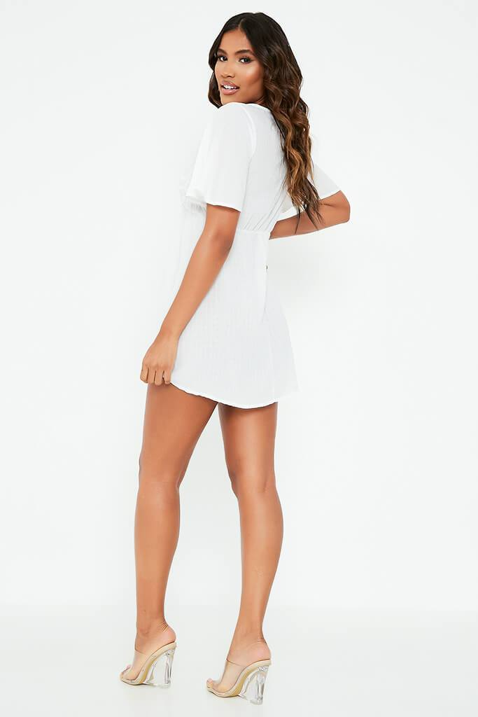 White Sheer Woven Plunge Frill Sleeve Smock Dress view 5