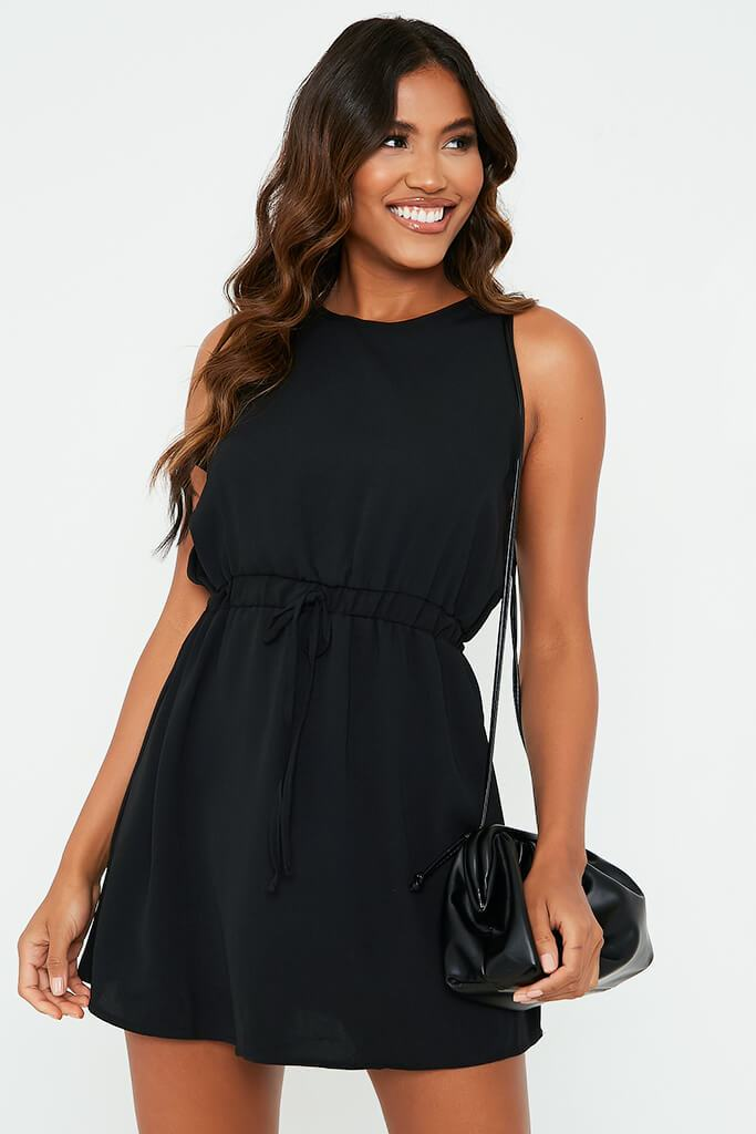 Black Woven Crew Neck Sleeveless Shift Dress