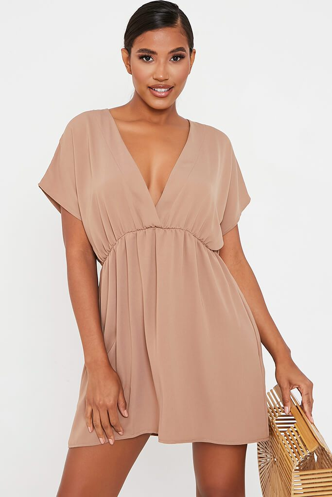 Brown Woven Plunge Wrap Smock Dress