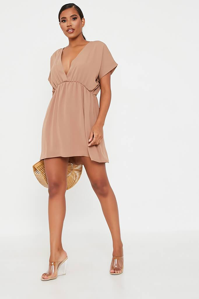 Brown Woven Plunge Wrap Smock Dress view 2