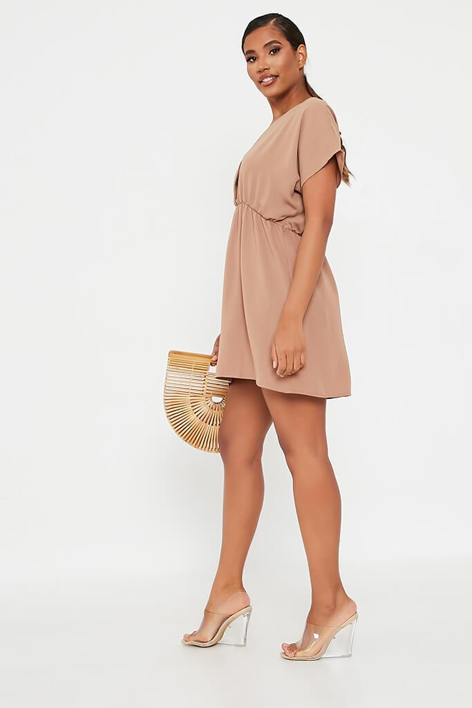 Brown Woven Plunge Wrap Smock Dress view 3