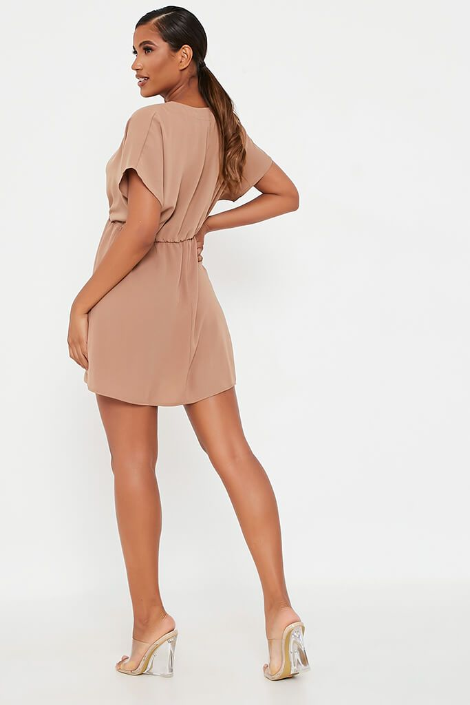 Brown Woven Plunge Wrap Smock Dress view 5