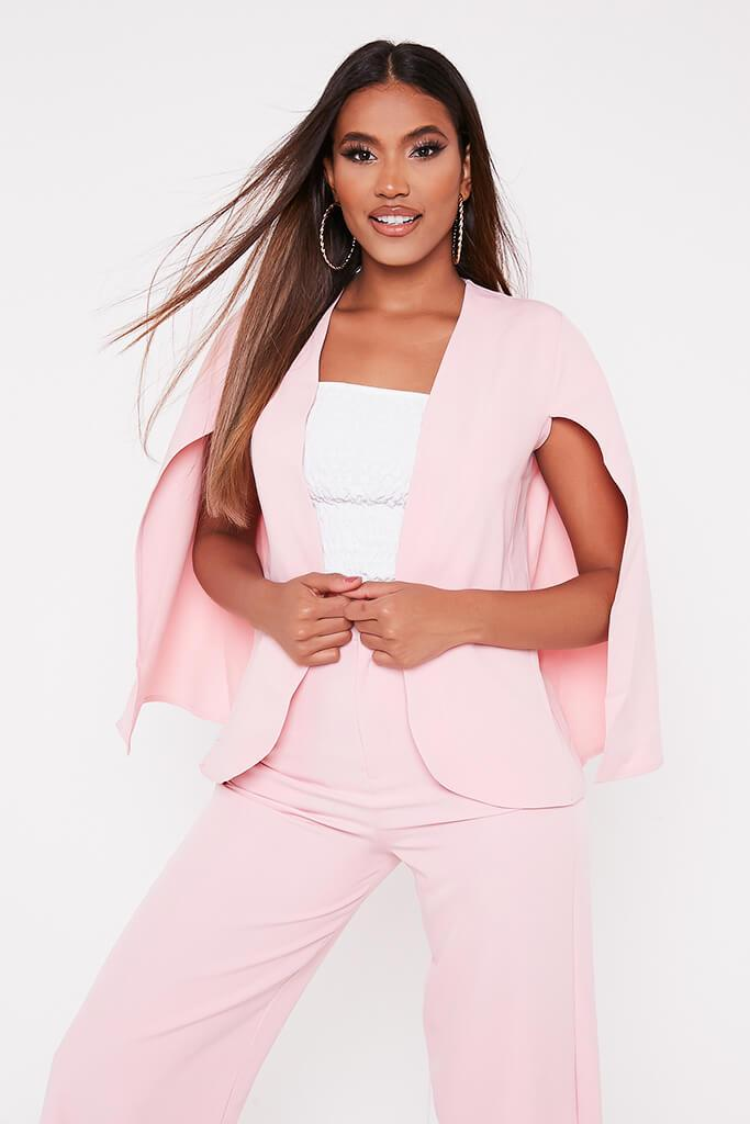Baby Pink Woven Cape Blazer