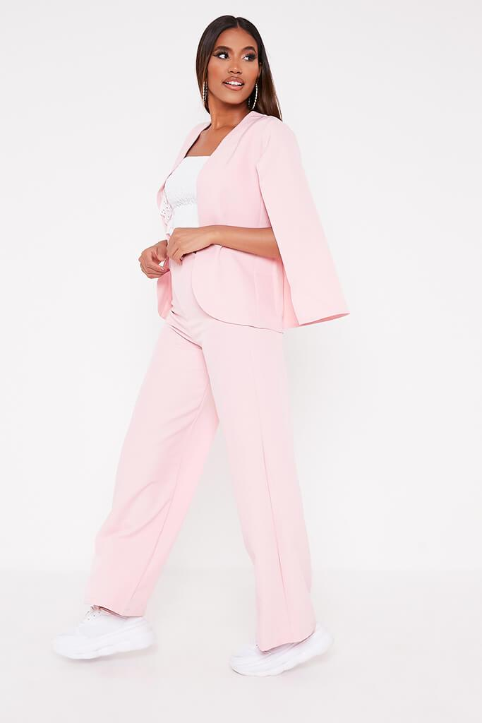 Baby Pink Woven Cape Blazer view 3