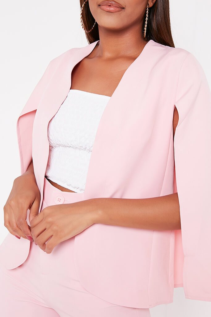Baby Pink Woven Cape Blazer view 4