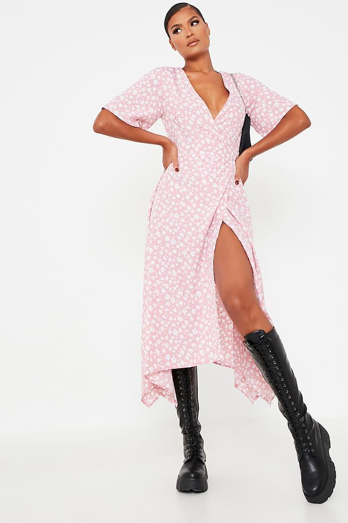 Baby Pink Woven Ditsy Floral Short Sleeve Wrap Dress
