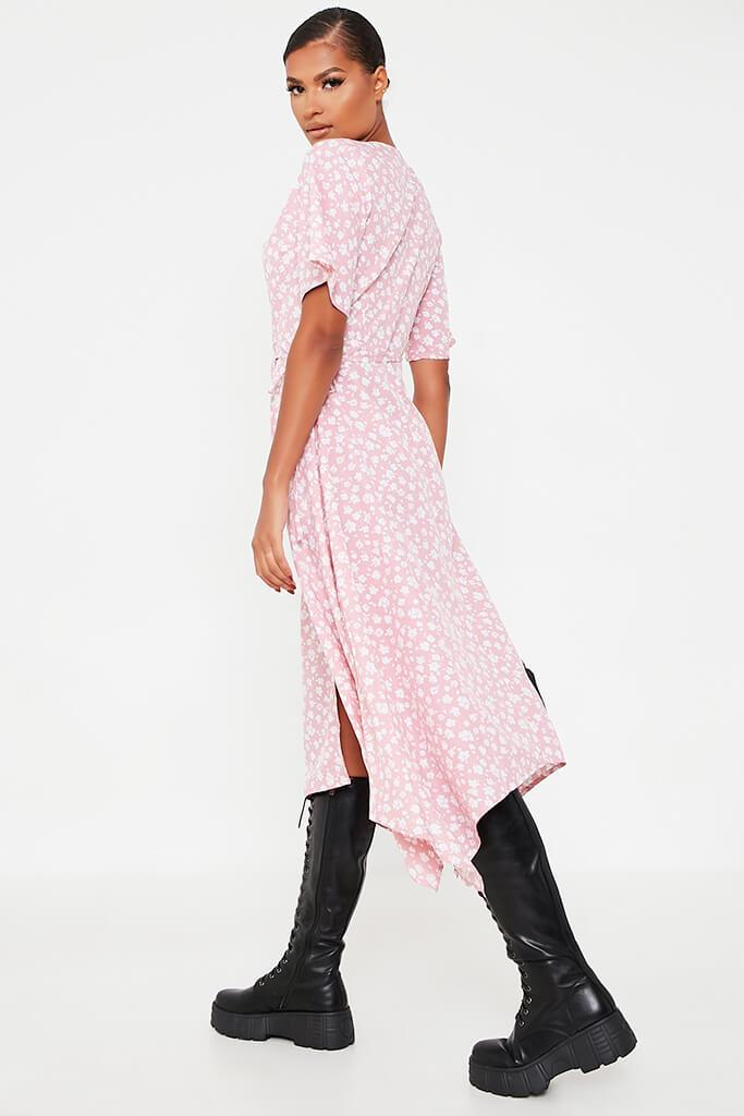 Baby Pink Woven Ditsy Floral Short Sleeve Wrap Dress view 4
