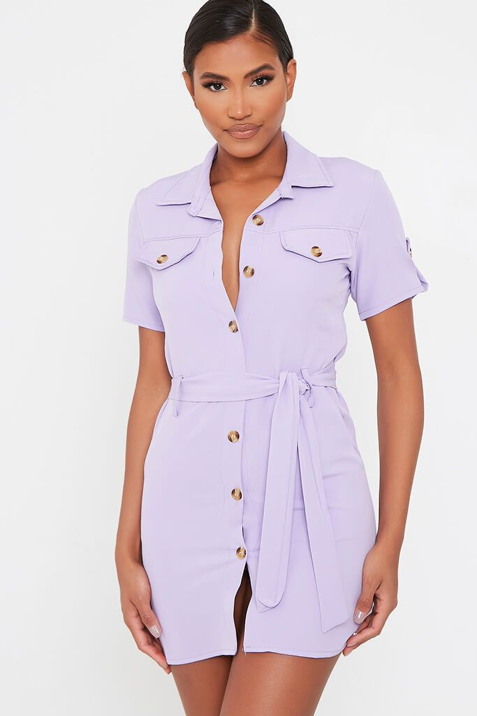 Lilac Utility Stretch Crepe Mini Dress