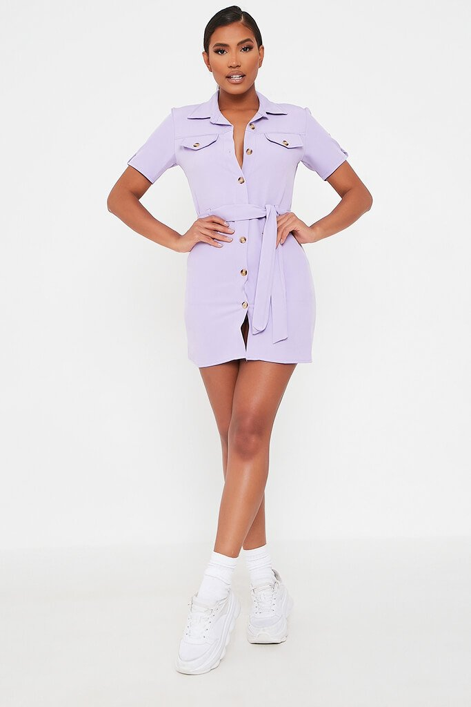 Lilac Utility Stretch Crepe Mini Dress view 2