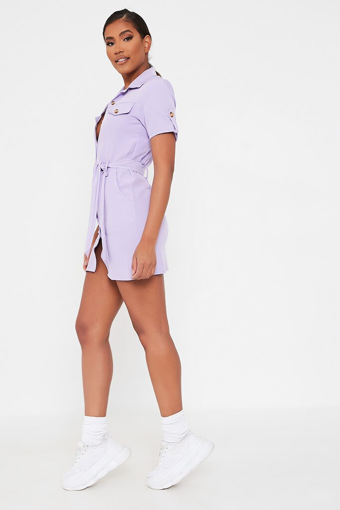 Lilac Utility Stretch Crepe Mini Dress view 3