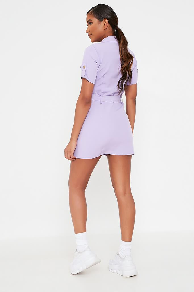 Lilac Utility Stretch Crepe Mini Dress view 5