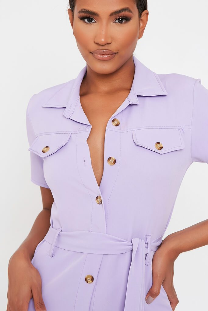 Lilac Utility Stretch Crepe Mini Dress view 4