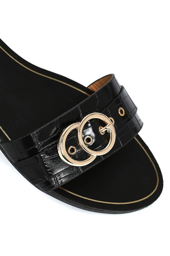 Black Buckle Detail Flat Sandals view 2