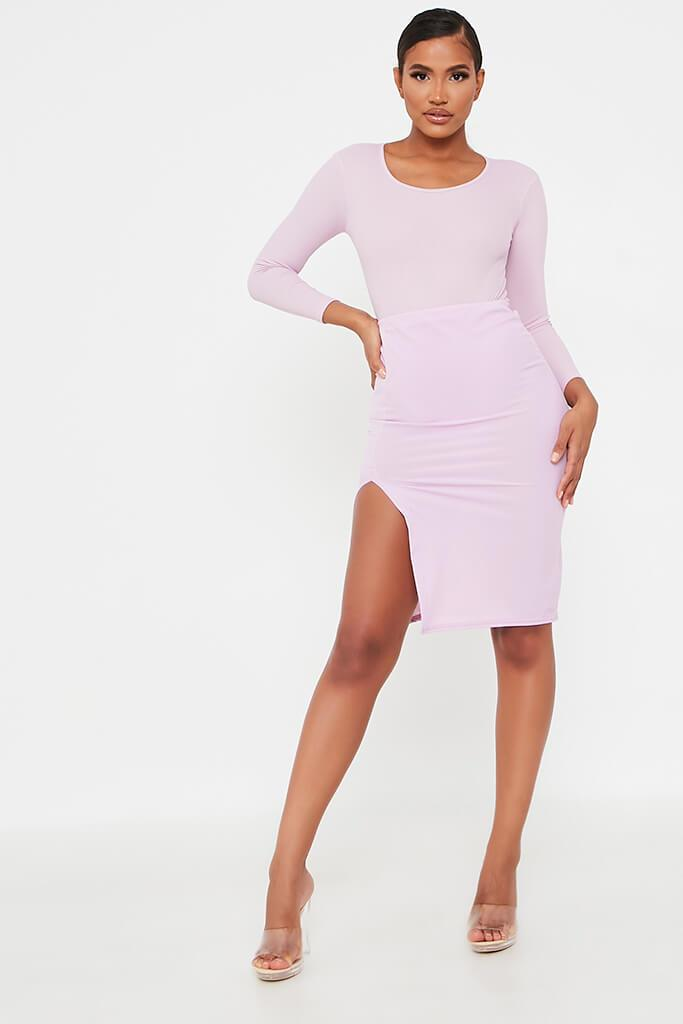 Lilac Rib Side Split 3/4 Skirt