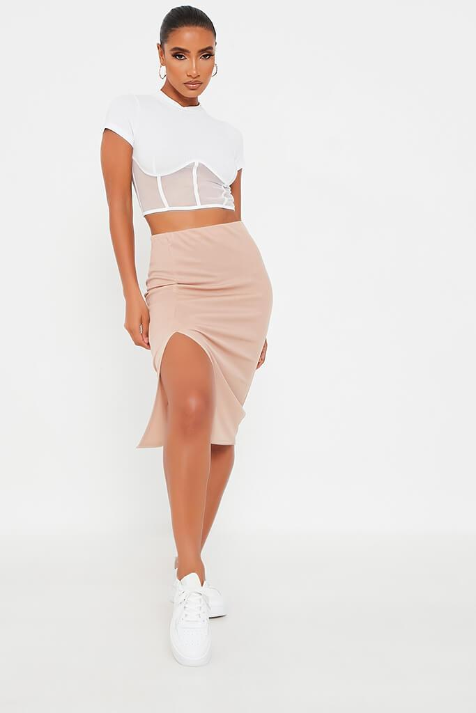 Stone Rib Side Split 3/4 Skirt
