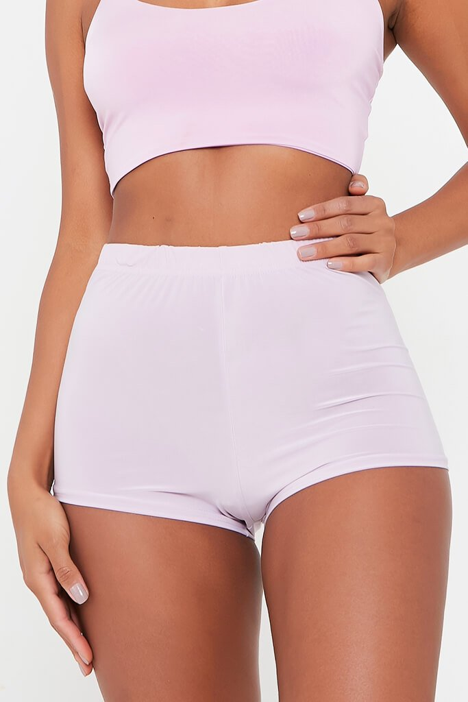 Lilac Slinky Crop Cycling Short view 4