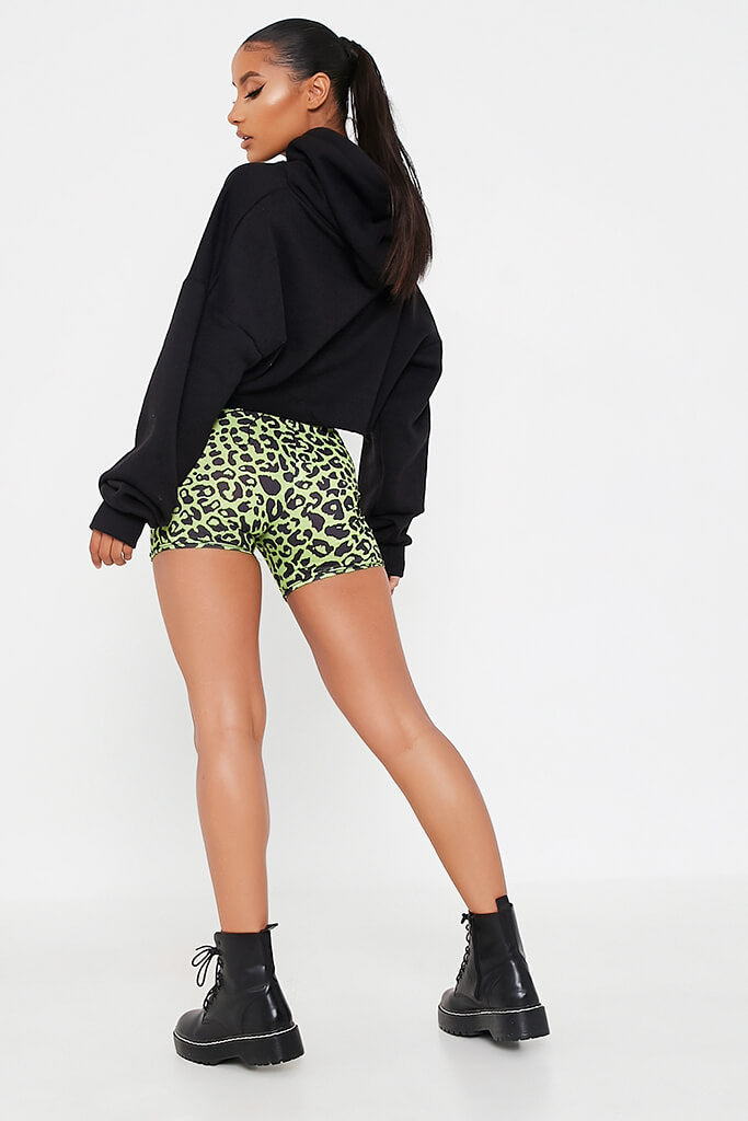 Neon Green Leopard Print Crop Cycling Short view 5