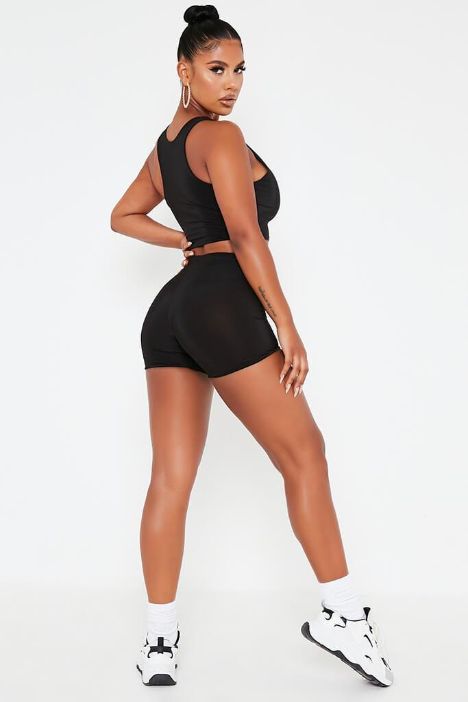 Black Crop Slinky Cycling Shorts view 5