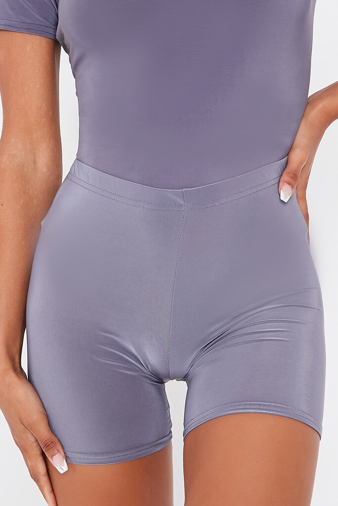 Charcoal Crop Slinky Cycling Shorts view 5
