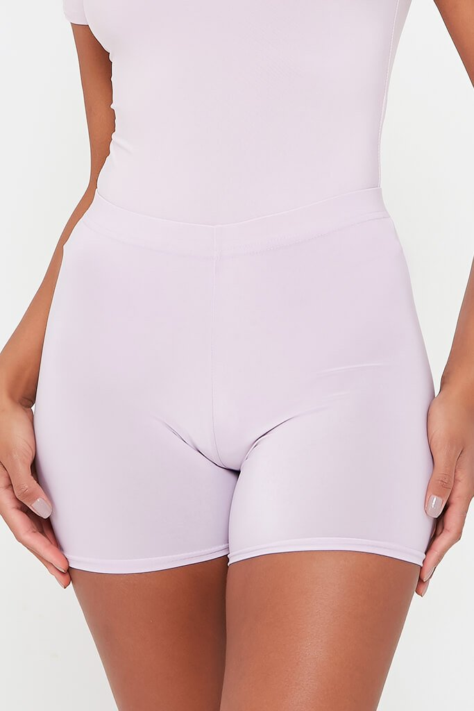 Lilac Crop Slinky Cycling Shorts view 4