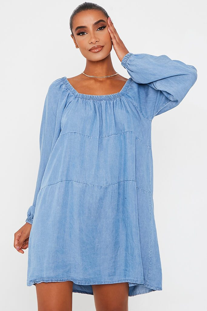 Light Wash Denim Smock Dress view main view