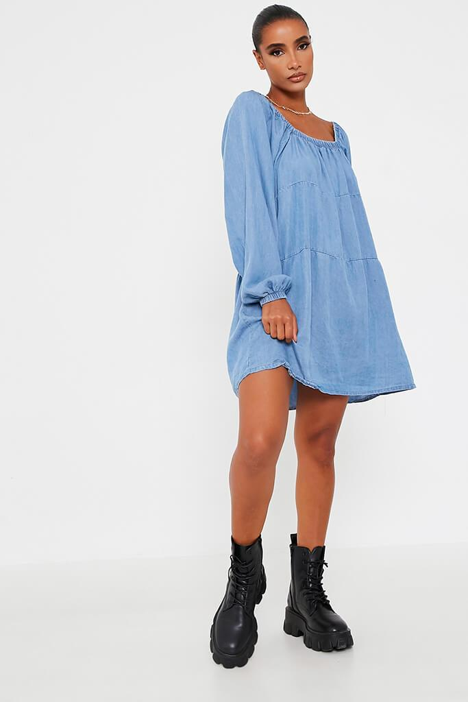 Light Wash Denim Smock Dress view 2