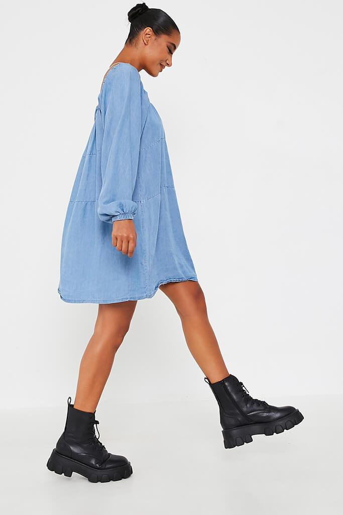 Light Wash Denim Smock Dress view 3