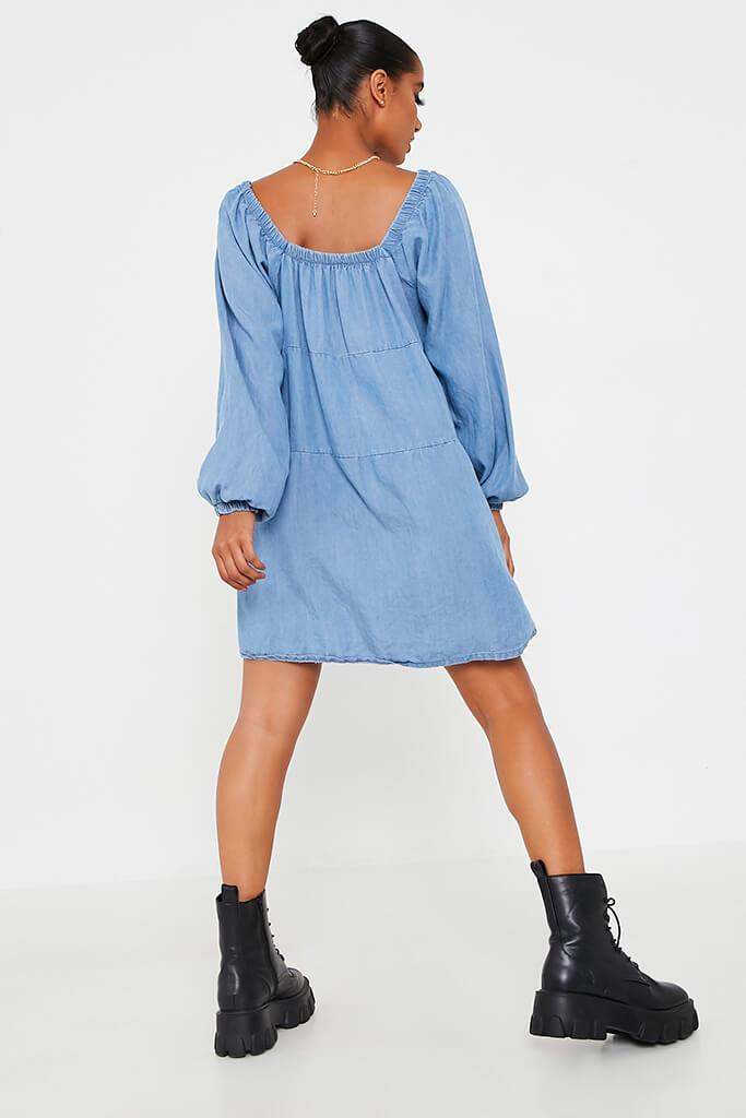 Light Wash Denim Smock Dress view 5