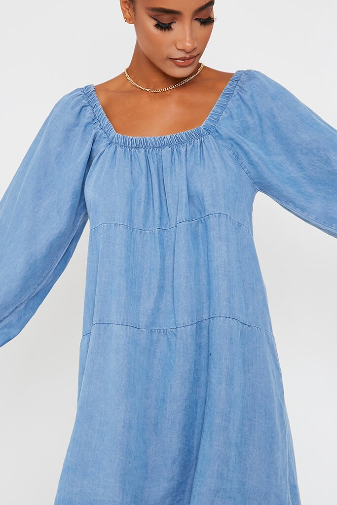 Light Wash Denim Smock Dress view 4
