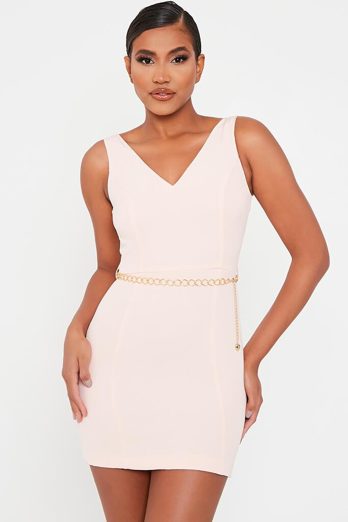 Baby Pink Crepe Plunge Front Belted Bodycon Dress