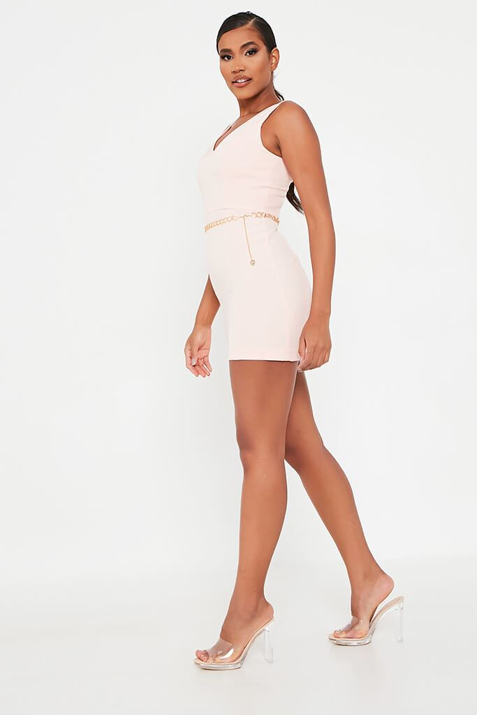 Baby Pink Crepe Plunge Front Belted Bodycon Dress view 3