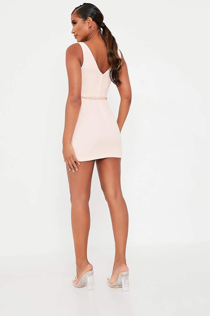Baby Pink Crepe Plunge Front Belted Bodycon Dress view 5