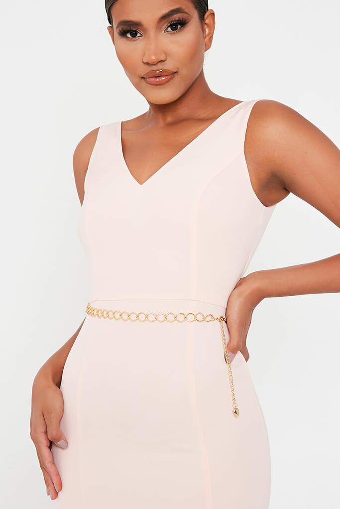 Baby Pink Crepe Plunge Front Belted Bodycon Dress view 4