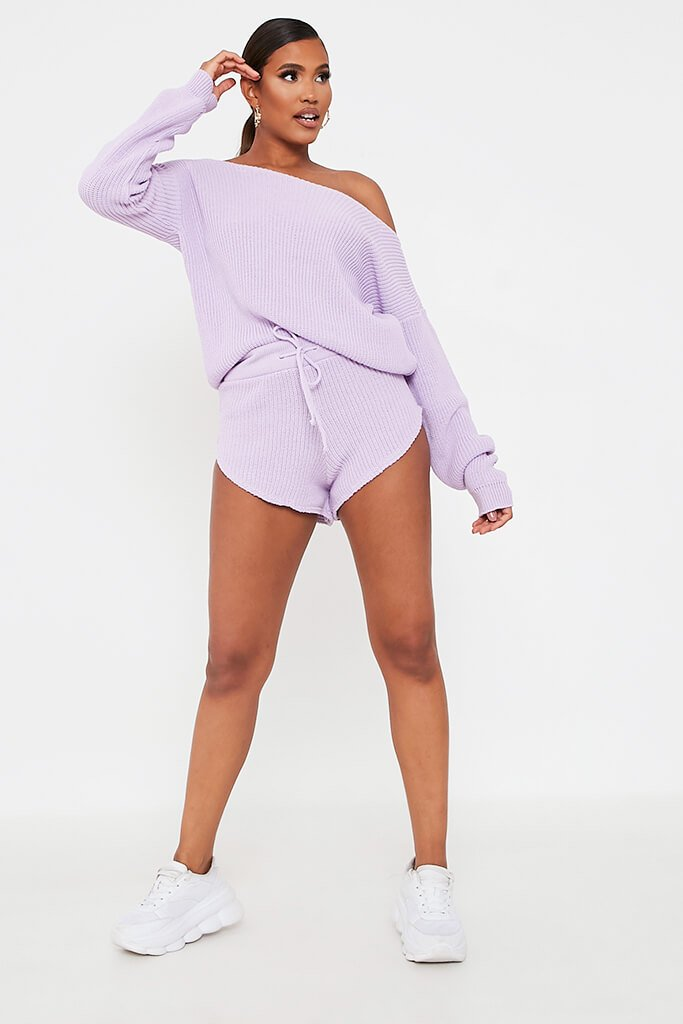 Lilac Knitted Slash Neck Jumper And Runner Shorts Set view 2