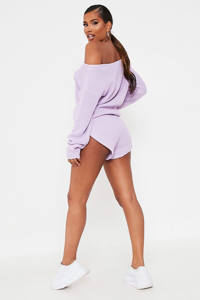 Lilac Knitted Slash Neck Jumper And Runner Shorts Set view 5