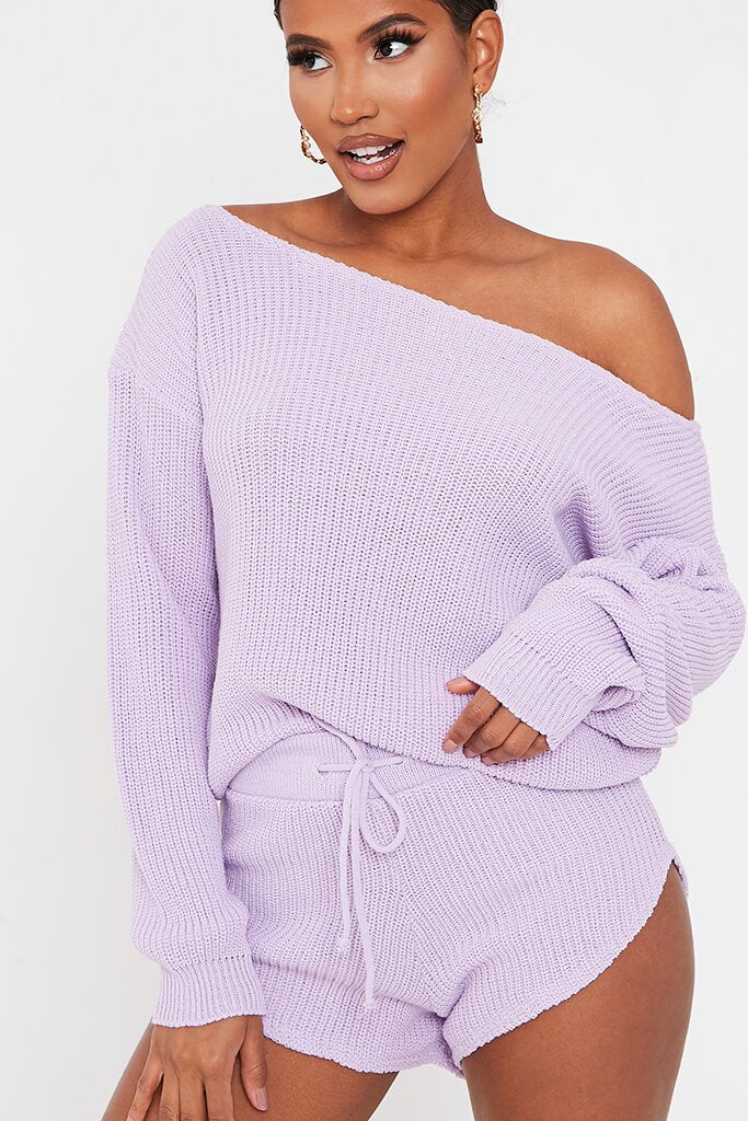 Lilac Knitted Slash Neck Jumper And Runner Shorts Set view 4