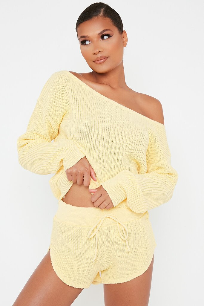Lemon Knitted Slash Neck Jumper And Runner Shorts Set