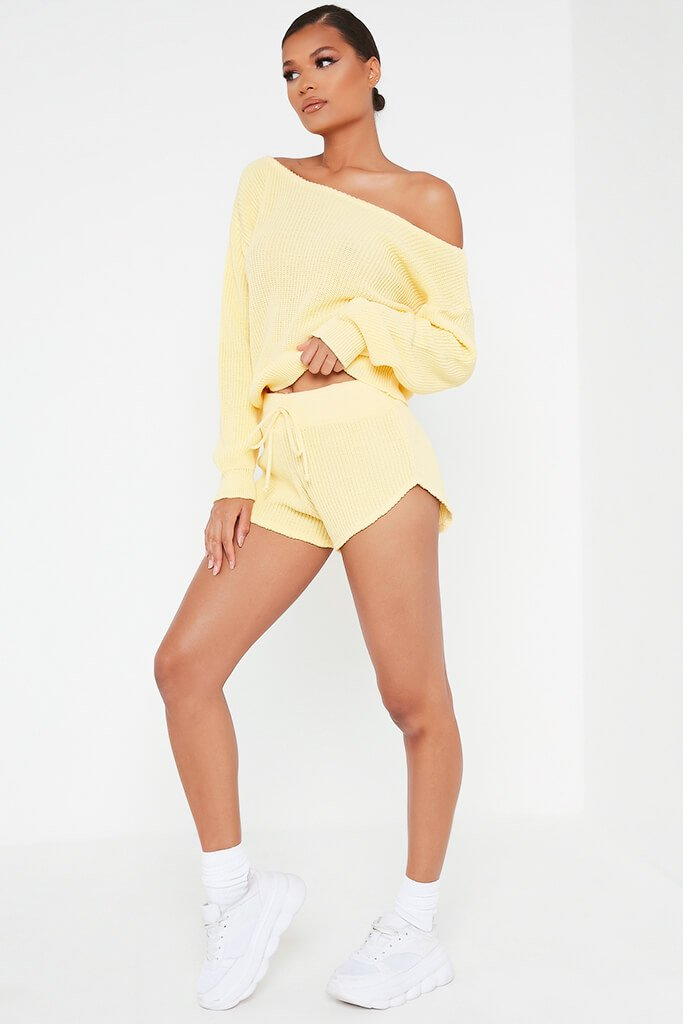Lemon Knitted Slash Neck Jumper And Runner Shorts Set view 3