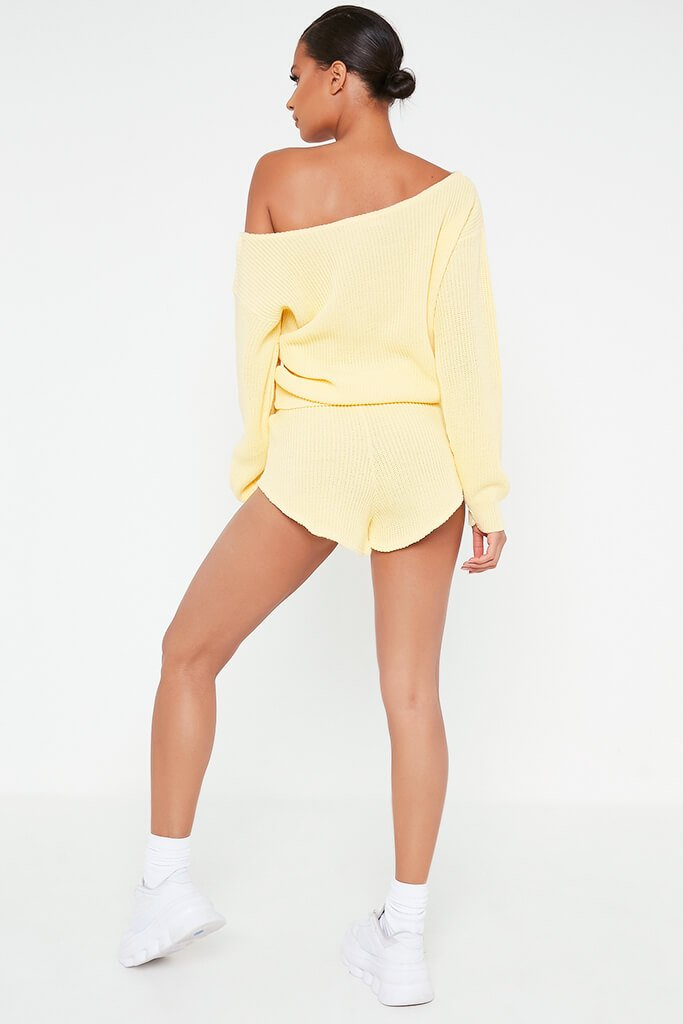 Lemon Knitted Slash Neck Jumper And Runner Shorts Set view 5